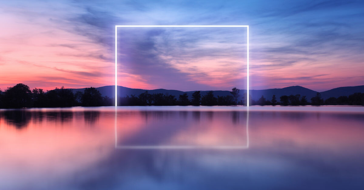 a neon square representing optimism in your reflective practice on a calm lake