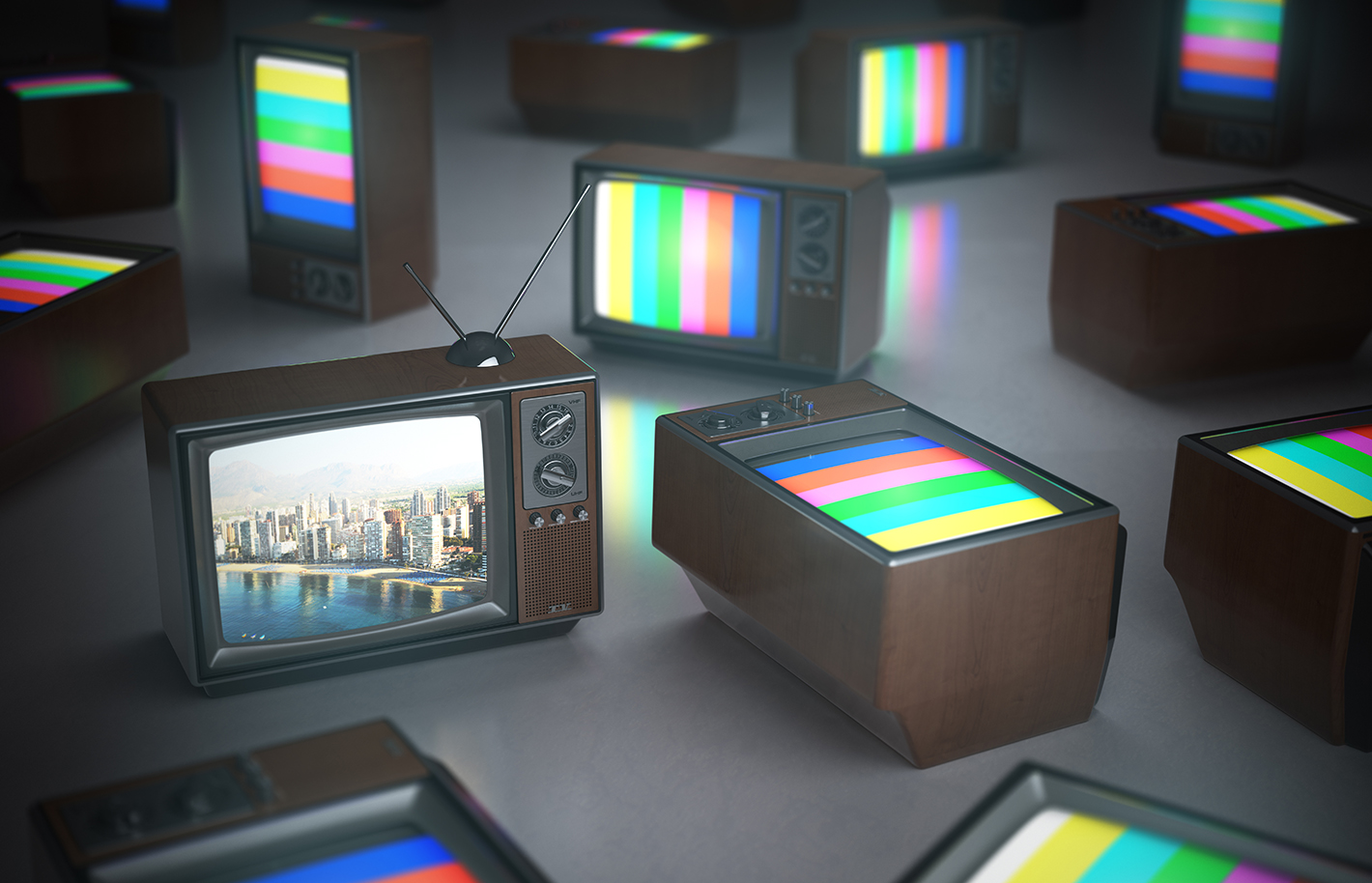 old school tvs with rainbow colour screens